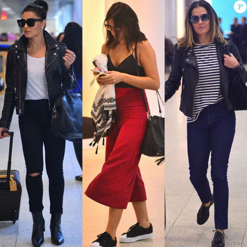 2b96f7a59 As famosas desfilam pelos aeroportos usando tendências de moda, como as  peças em couro,
