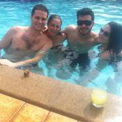 Pedro Leonardo, recuperado, curte piscina com a família em Goiânia