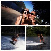 Malvino Salvador pratica wakeboard com a namorada, Kyra Gracie: 'Primeira aula!'