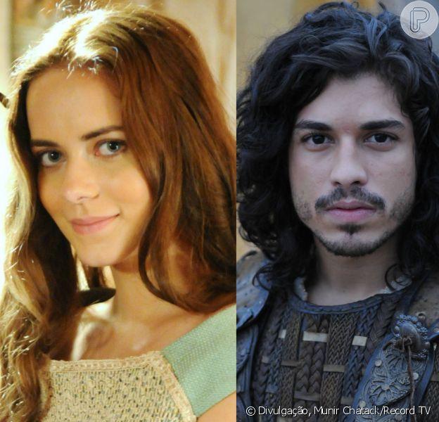 Livana (Letícia Medina) e Rune (Douglas Sampaio) se beijam e depois comemoram o sucesso da noite de núpcias, na novela 'A Terra Prometida'