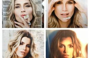 Flávia Alessandra posa com olhar fatal e cabelos bagunçados para capa de revista