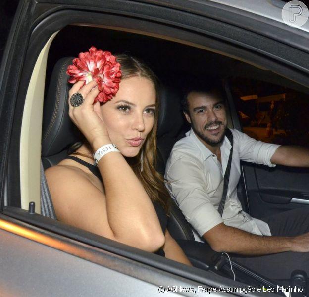 Paolla Oliveira foi com Joaquim Lopes à festa para celebrar o fim de 'Amor à Vida' (01 de fevereiro de 2014)