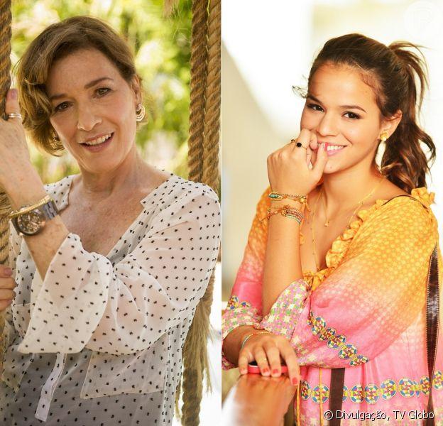 Chica (Natália do Vale) dá conselho a Luiza (Bruna Marquezine) para que ela fuja de uma paixão com Laerte (Gabriel Braga Nunes), em 10 de abril de 2014, na novela 'Em Família'