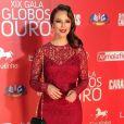 Paolla Oliveira usou um vestido vermelho rendado na premiação portuguesa Globos de Ouro, realizada em Lisboa, no dia 18 de maio de 2014