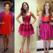 Famosas apostam em looks vermelhos e pink em eventos. Veja fotos e inspire-se!