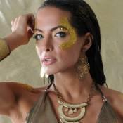 Carla Prata, rainha da Grande Rio, posa toda dourada e conta rotina de malhação