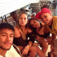 Durante o churrasco em comemoração ao aniversário do amigo, o jogador Madson, na quinta-feira, 22 de maio de 2014, Neymar exibiu a nova tatoo à mostra