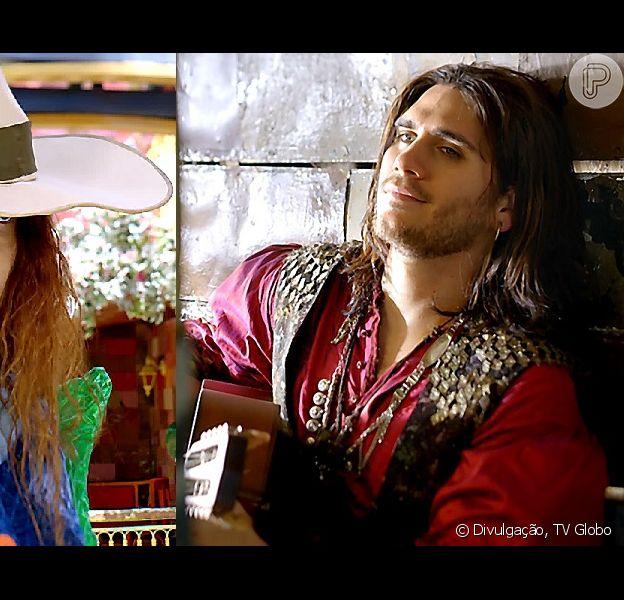 Viramundo (Gabriel Sater) fica próximo de Gina (Paula Barbosa) depois que começa a trabalhar com ela na roça, em 'Meu Pedacinho de Chão', em 25 de junho de 2014