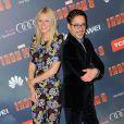 Gwyneth Paltrow e Robert Downey Jr. durante o lançamento do filme 'Iron Man 3'
