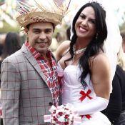 É mentira! Graciele Lacerda posa de noiva com Zezé Di Camargo: 'Casada'