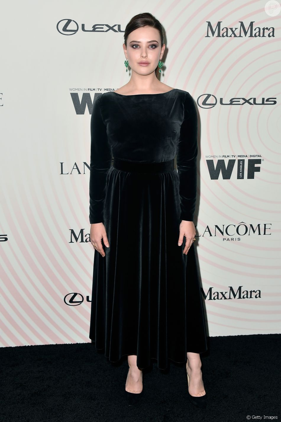 Katherine Langford, protagonista da série '13 Reasons Why', no Women In Film 2018 Crystal + Lucy Awards, promovido por Max Mara, Lancôme e Lexus no The Beverly Hilton Hotel, em Beverly Hills, na Califórnia, nesta quarta-feira, 13 de junho de 2018
