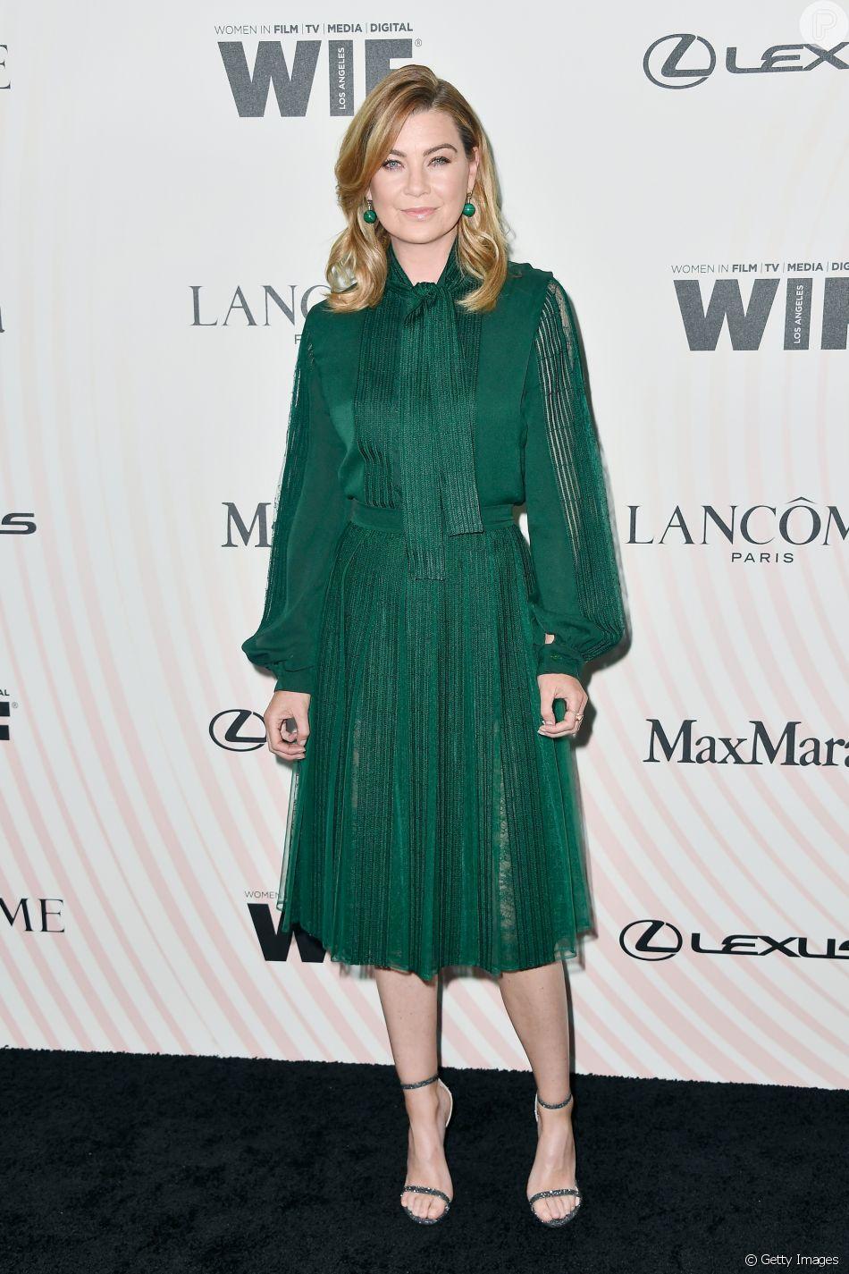 Ellen Pompeo, protagonista da série 'Grey's Anatomy', no Women In Film 2018 Crystal + Lucy Awards, promovido por Max Mara, Lancôme e Lexus no The Beverly Hilton Hotel, em Beverly Hills, na Califórnia, nesta quarta-feira, 13 de junho de 2018