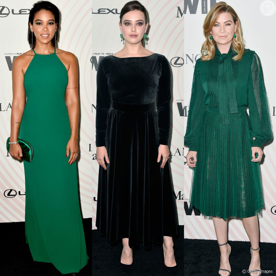 Alexandra Shipp, Katherine Langford e Ellen Pompeo investiram no verde no Women In Film 2018 Crystal + Lucy Awards. Veja mais looks!