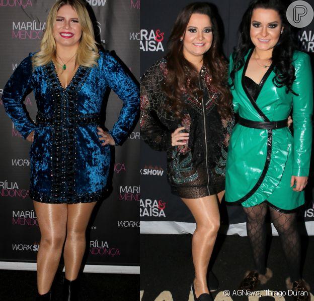 Marília Mendonça e Maiara e Maraisa apostaram em looks estilosos em show no Farraial Sertanejo, em São Paulo, neste sábado, dia 16 de junho de 2018