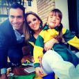 Rafaella Justus ao lado da mãe, Ticiane Pinheiro, e seu atual companheiro César Tralli