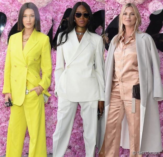Bella Hadid, Naomi Campbell e Kate Moss prestigiaram o desfile da coleção primavera/verão 2019 masculina da Dior, durante a Paris Fashion Week, neste sábado, 23 de junho de 2018