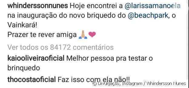 Thomaz Costa defende Larissa Manoela em post de Whindersson Nunes
