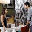 Marcelo (Murilo Cezar) diz a Débora (Lisandra Cortez) que já pensa no nome de seu futuro filho, sem saber que ela continua tomando o remédio para ter a gravidez   na novela 'As Aventuras de Poliana'