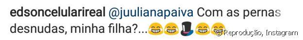 Edson Celulari brinca com Juliana Paiva no Instagram