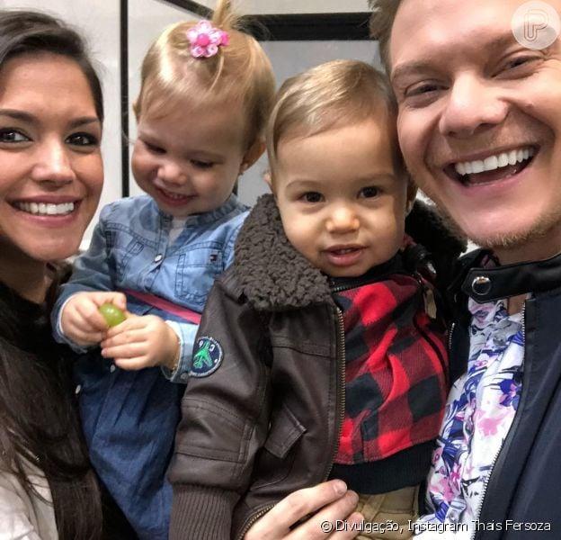 Thais Fersoza levou os filhos Melinda e Teodoro ao show de Michel Teló neste sábado, 1 de setembro de 2018, em SP