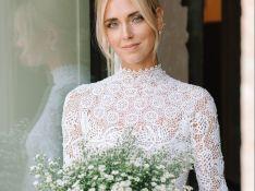 Renda, bordado e tule: os 3 looks de Chiara Ferragni em casamento com Fedez