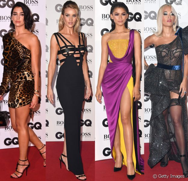 Dua Lipa, Rosie Huntington-Whiteley, Zendaya, Rita Ora e mais famosas brilham no tapete vermelho do GQ Men Of The Year 2018