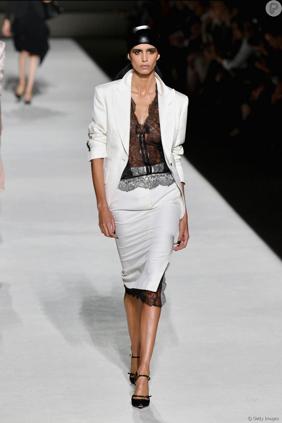 Tendências do primeiro dia da New York Fashion Week verão 2019, que começou oficialmente em 6 de setembro de 2018 Tom Ford apostou no P&B