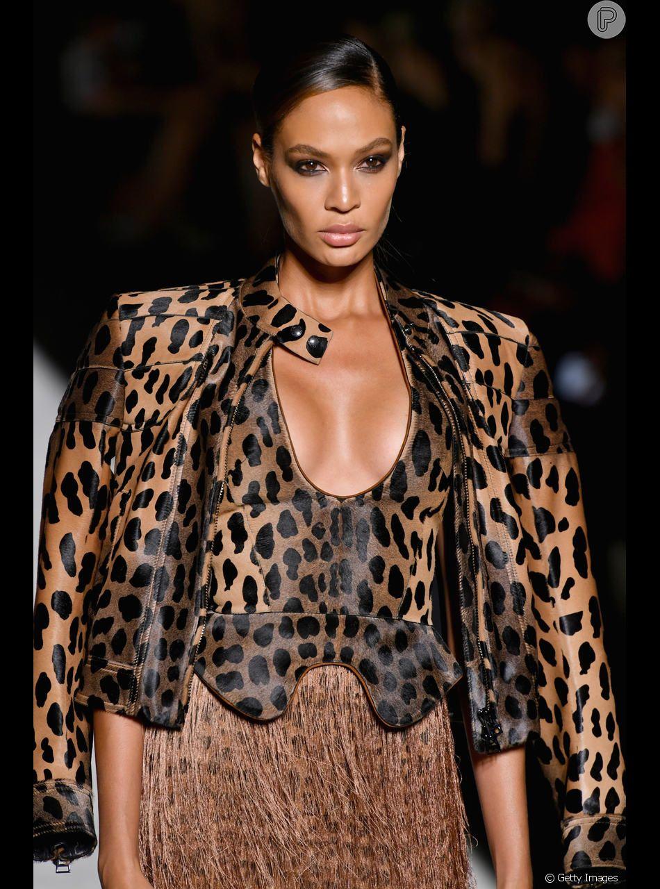 Ousado: o espartilo de onça apareceu no desfile de Tom Ford na Semana de Moda de Nova York