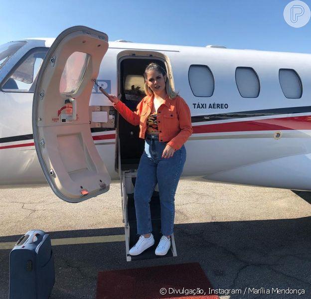 Marília Mendonça relata panea em avião a caminho de show em Goiás, em 12 de outubro de 2018