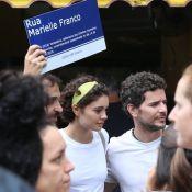 Sophie Charlotte e Daniel de Oliveira levam filho a manifestação política no Rio