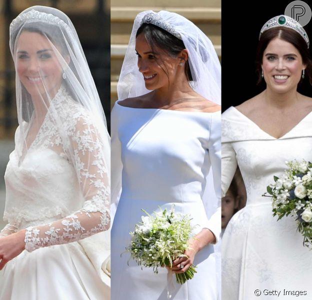 Looks de casamento de Eugenie, Meghan e Kate refletiram estilo das noivas. Veja na galeria e matéria publicada pelo Purepeople nesta segunda-feira, dia 15 de outubro de 2018