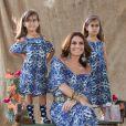 Giovanna Antonelli usa roupa look idêntico ao das filhas gêmeas, Antônia e Sofia, ao estrelar uma campanha de Dia das Mães da marca Leader