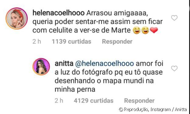 Anitta responde comentário de seguidora sobre celulite: 'Quase desenhando o mapa-múndi'