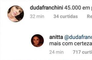 Anitta rebate sobre plásticas dela e de Ludmilla no nariz: 'Mais de R$ 45 mil'