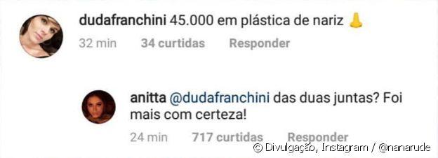 Anitta rebate comentário de fã sorbe plástica no nariz