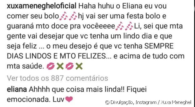 Eliana se emociona com mensagem de Xuxa