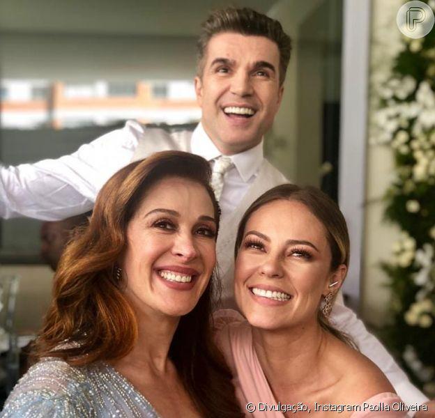 Paolla Oliveira bem que tentou pegar o buquê de casamento de Claudia Raia com Jarbas Homem de Mello, neste sábado, 8 de dezembro de 2018, mas não conseguiu