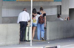 Estilosa! Sasha Meneghel escolhe jardineira com blusa ombro a ombro para viajar