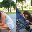 Priscila Fantin passeia com o filho recém-nascido, Romeo, pela Barra da Tijuca, na zona oeste do Rio em dezembro de 2011