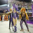 Claudia Raia usou fantasia de raposa em desfile de Carnaval neste domingo, 3 de março de 2019