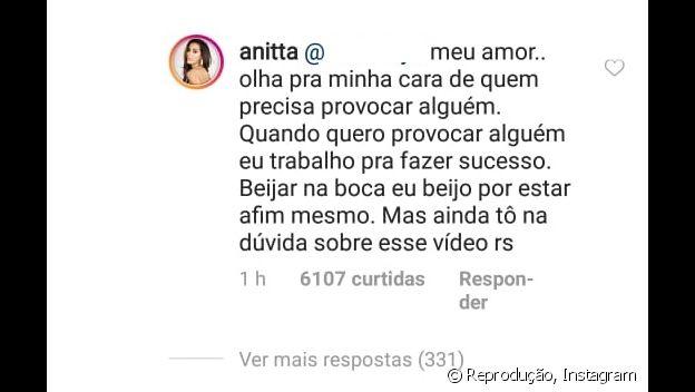 Anitta responde fã sobre ter provocado Bruna Marquezine