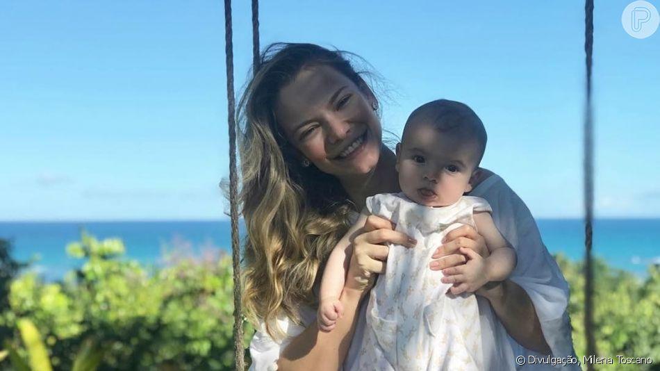 Filho de Milena Toscano, João Pedro, de 6 meses, rouba a cenas nas redes sociais