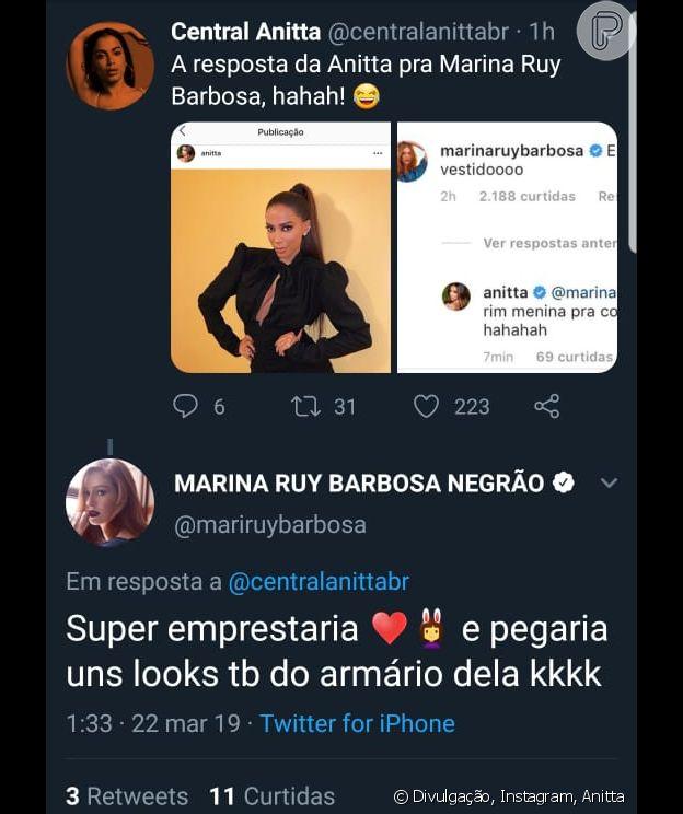 Anitta recebe elogios de Marina Ruy Barbosa no Instagram