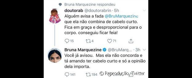 Bruna Marquezine reagiu ao ser criticada no Twitter por conta do cabelo curto