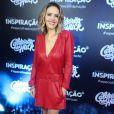 Leona Cavalli apostou no vestido vermelho da Animale para a gravação do programa especial do Caldeirão do Huck