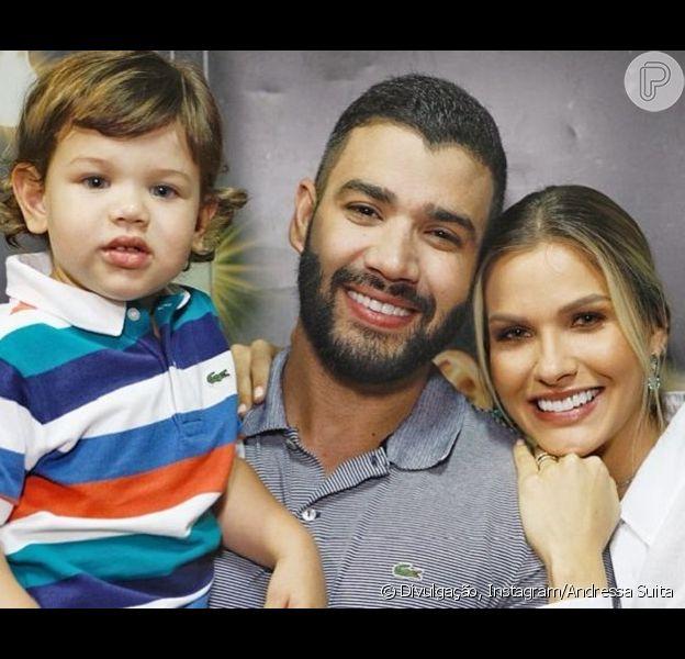 Andressa Suita, mulher de Gusttavo Lima, e o filho Gabriel cantam música infantil em vídeo
