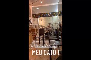 Ivete Sangalo filma o marido e filho, Marcelo, tocando bateria: 'Amor demais'