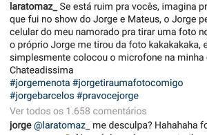 Sertanejo Jorge se desculpa com fã após se atrapalhar ao fazer selfie. Entenda!