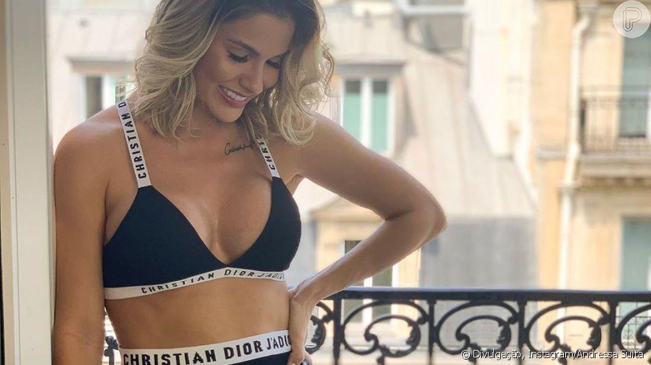 Lingerie Dior de R$ 7mil protagoniza look de Andressa Suita em Paris nesta segunda-feira, dia 24 de junho de 2019