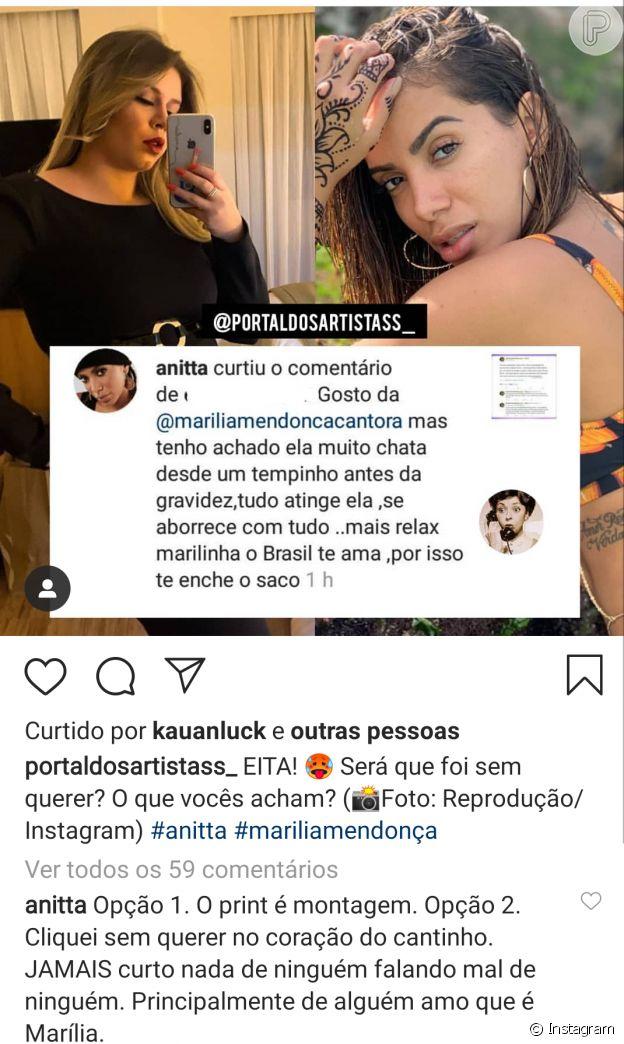 Anitta esclareceu que não curtiu comentário criticando Marilia Mendonça